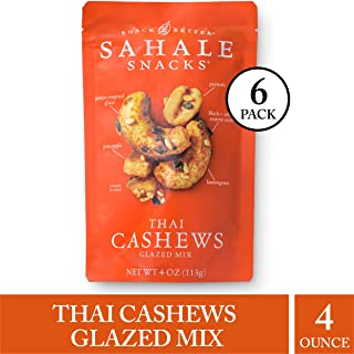 Sahale Snacks Thai Cashews Glazed Nut Mix - Healthy Snacks in a Resealable Pouch, No Artificial Flavors, Preservatives or Colors, Gluten-Free Snacks, 4 Ounce (Pack of 6)