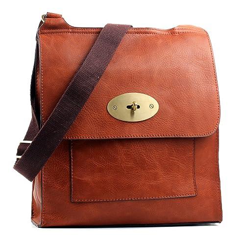 Aossta Faux Leather Large Medium Twist Lock Cross Body Messenger Bag  Turnlock Shoulder Bag 8fbaa0de0fd3