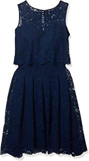Sangria Women's Sleeveless Lace Pop Over Fit and Flare Dress