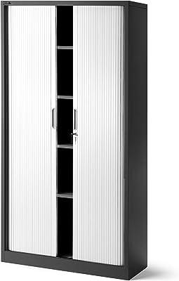 Jan Nowak by Domator24 T001 Rideaux Armoire de Bureau 4 étagères Porte roulante tôle d'acier verrouillable 185 cm x 90 cm x 45 cm (Anthracite/Blanc), Métal