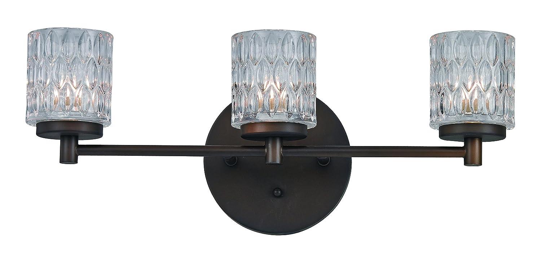 Trans Globe Lighting 3-Light Textured Bistro Glass Vanity Bar, Polished Chrome, Rubbed Oil Bronze by Trans Globe Lighting