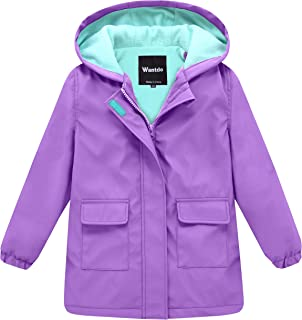 Wantdo Girl's and Boy's Hooded Rain Jacket Waterproof Fleece Lined Windbreaker