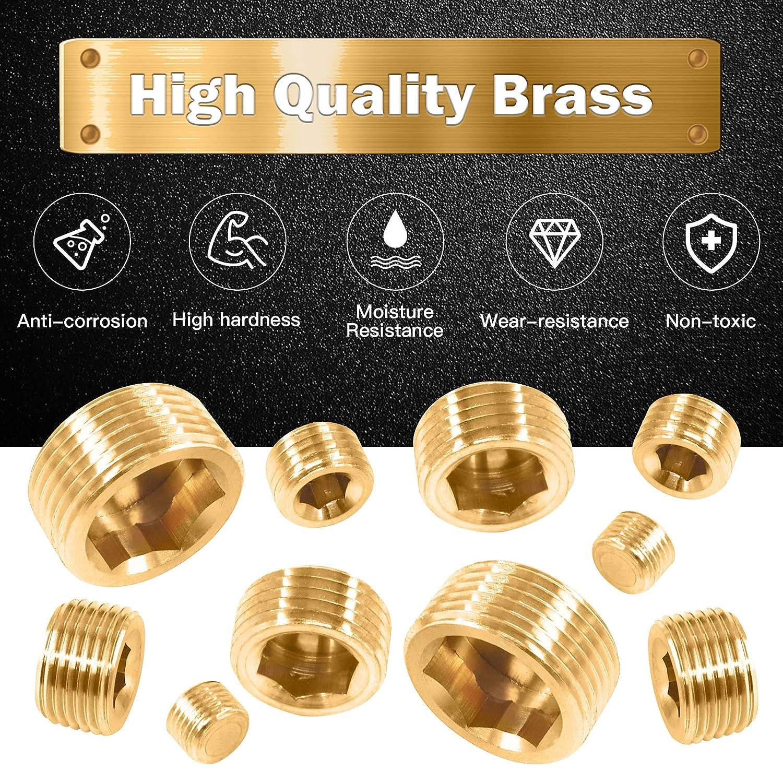 Rustak 23 Pcs Brass Pipe Plugs Assortment Set 1//8 1//4 3//8 1//2 3//4 NPT Brass Pipe Fitting Internal Hex Thread Socket Plug Kit for Water Pump Ports Oil Sender Holes Engine Block