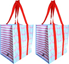 Buti Earth Bag Extra Large Reusable Shopping Bags with Handles Reinforced Bottom, Stay Open Fold Flat, Premium Wipe Clean Totes (2, Flamingo Pink & Blue)