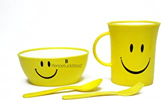 Perpetual Bliss (One Piece) Fancy Smiley Mug with Bowl with Spoon with Fork for Kids/Shakes/Juices/Coffee/Birthday Return ...