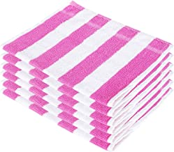 SHAMBHAVI 300 GSM 6 Piece Cotton Hand Towel Set - Pink & White