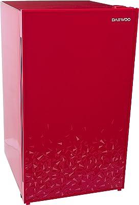 Winia/Daewoo FR-15D Frigobar Elegante con Puerta de Cristal Templado, 3.99 Pies Cúbicos, 113.00 L, rojo