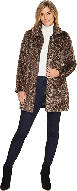 Dylan by True Grit - Wild Side Vintage Leopard Faux-Fur Coat with Heather Knit Lining and Pockets