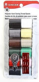 Singer Spun Polyester Light and Dark Hand Thread Set, Set of 12, Assorted Colors