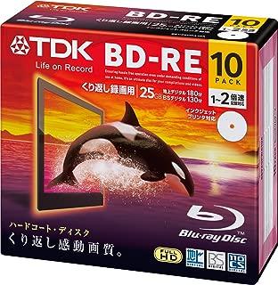 TDK 録画用ブルーレイディスク BD-RE 25GB 1-2倍速 ホワイトワイドプリンタブル 10枚 5mmスリムケース BEV25PWA10A