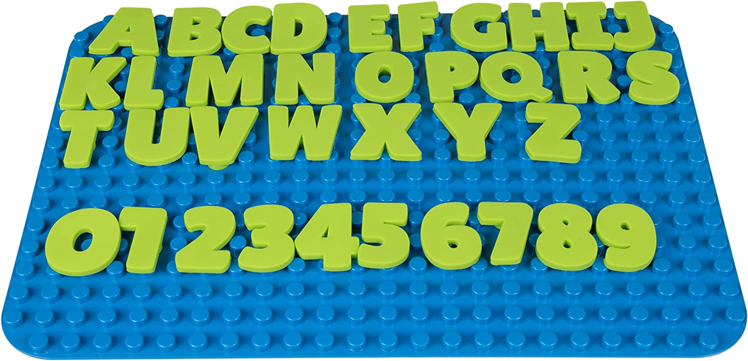 Silicone AlphaBriks and MathBriks 36 Piece Set by Strictly Briks   Learning & Spelling Set   100% Compatible with All Major Large Brick Brands   For Ages 3+   Tight Fit Flexible Letters & Numbers
