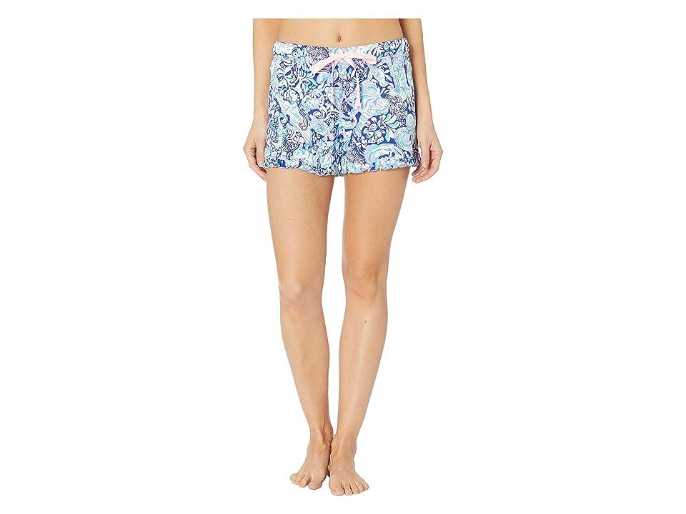 Lilly Pulitzer Ruffle PJ Knit Shorts (Royal Purple 60 Animals) Women