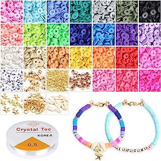 ZWOOS Perles Espacees,5400 pièces 6 mm Perles Plates Faites à la Main en Argile Polymère Bricolage Perles pour Bijoux Fabr...