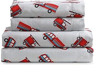 مجموعه ورق های نرم Super Kute Kids - کامیون های آتش نشانی - میکرو فیبر مسواک شده برای راحتی بیشتر (دوقلو)