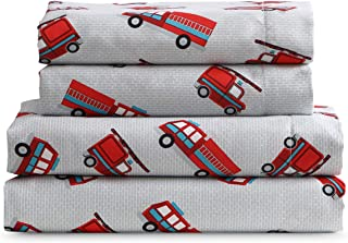 Kute Kids Super Soft Sheet Set - Fire Trucks - Brushed Microfiber for Extra Comfort (Twin)