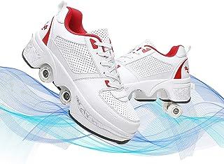 Hmlopx Barns automatiska promenadskor deformation dubbelradig rullskor skor manliga och kvinnliga skridskoskor osynliga re...