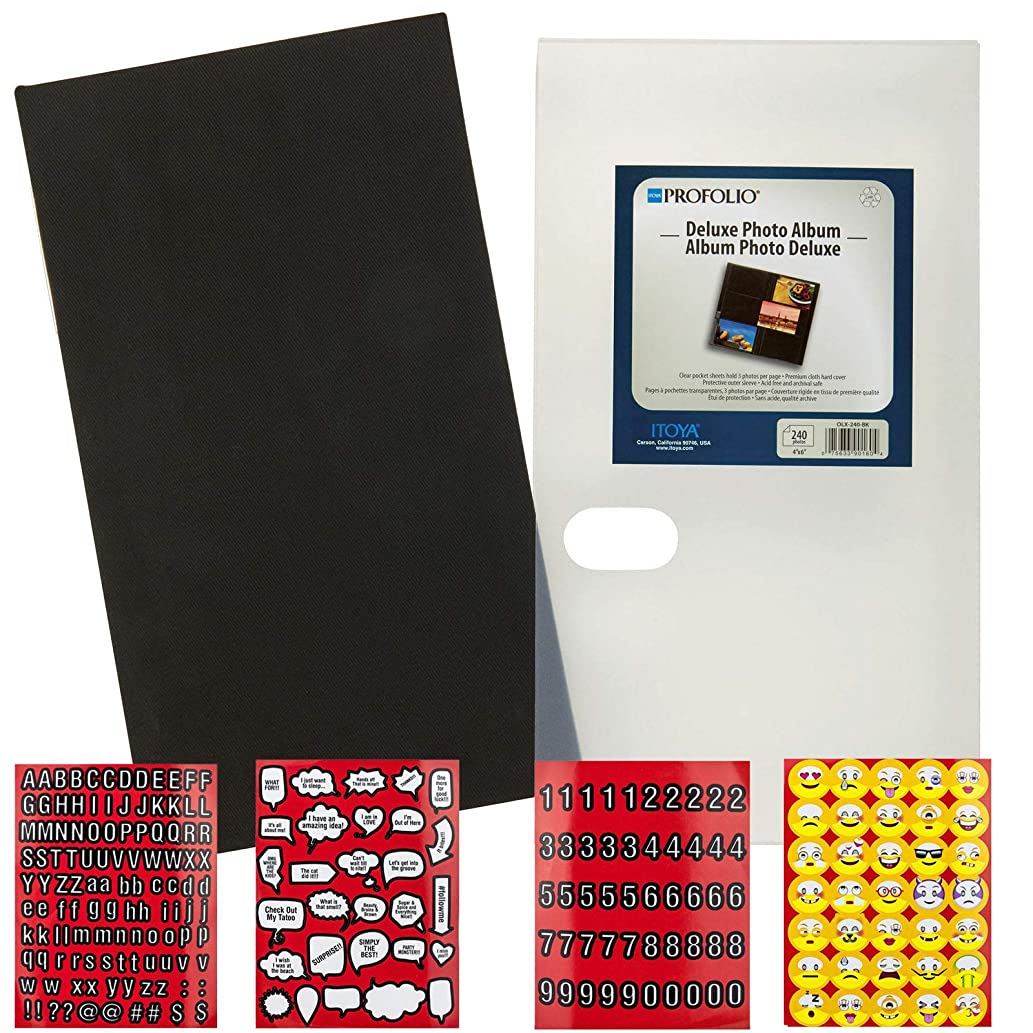 Itoya Deluxe Photo Album 240 4x6 Prints with Premium Fabric Cover (Black) + Scrapbooking Stickers 4 Pages of Emojis, Quotes, Letters & Numbers