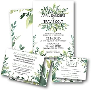 Greenery Foliage Botanical 3 piece Wedding Invitation set with RSVP with envelopes