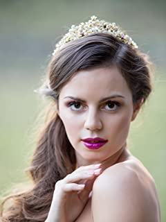 AW Wedding Tiara Crown Headband Rhinestone Bridal Hair Accessories for Women, Gold