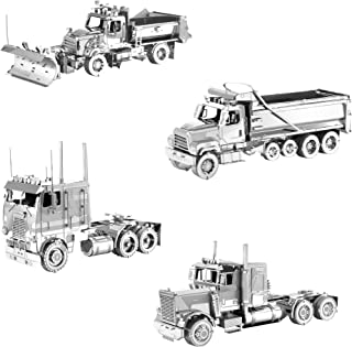 Fascinations Metal Earth 3D Metal Model Kits Freightliner Set of 4 - Long Nose Truck - COE Truck - Dump Truck - Snow Plow