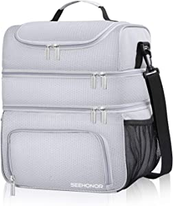 Insulated Lunch Bag, 18L Leakproof Reusable Large Capacity Bag with Adjustable Strap, Three Deck Lunch Box for Office Camping Hiking Outdoor Picnic Beach (Silver, Large)