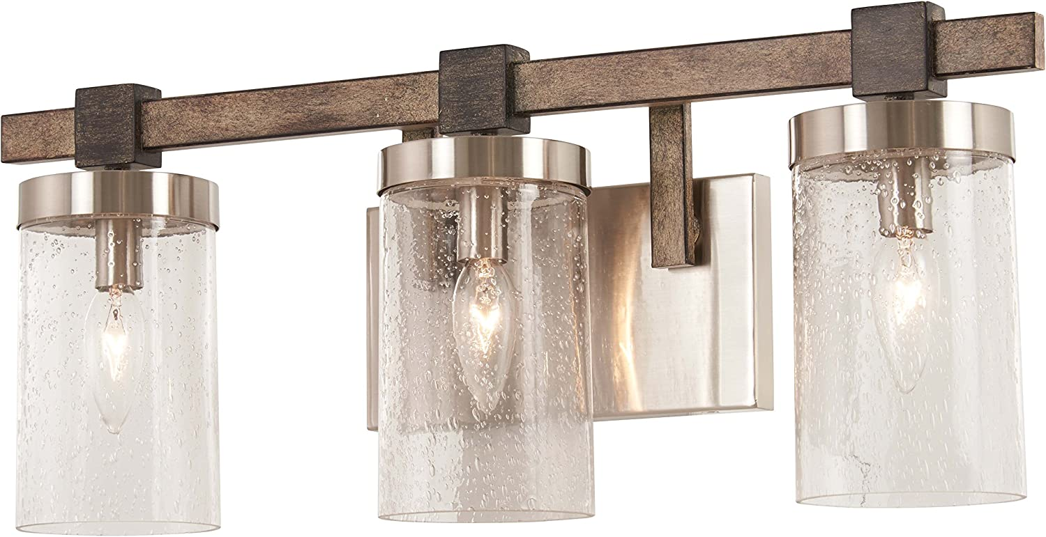 Minka Lavery Wall Light Fixtures 4633-106 Bridlewood Bath Vanity Lighting, 3-Light 180 Watts, Stone Grey
