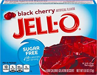 JELL-O Black Cherry Sugar Free Gelatin Dessert Mix (0.60 oz Boxes, Pack of 6)