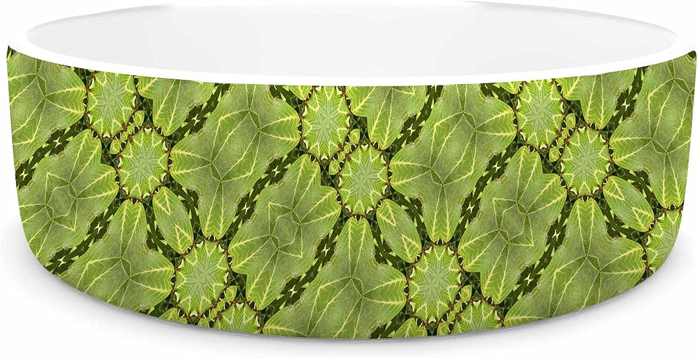 KESS InHouse Laura Nicholson Leafy Lozenges  Green Abstract Pet Bowl, 4.75