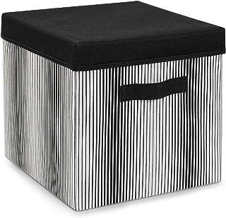 Ocean Home Panier de rangement en tissu non-tissé cube organiseur boîte pliable avec couvercle décoratif pour la maison, l...