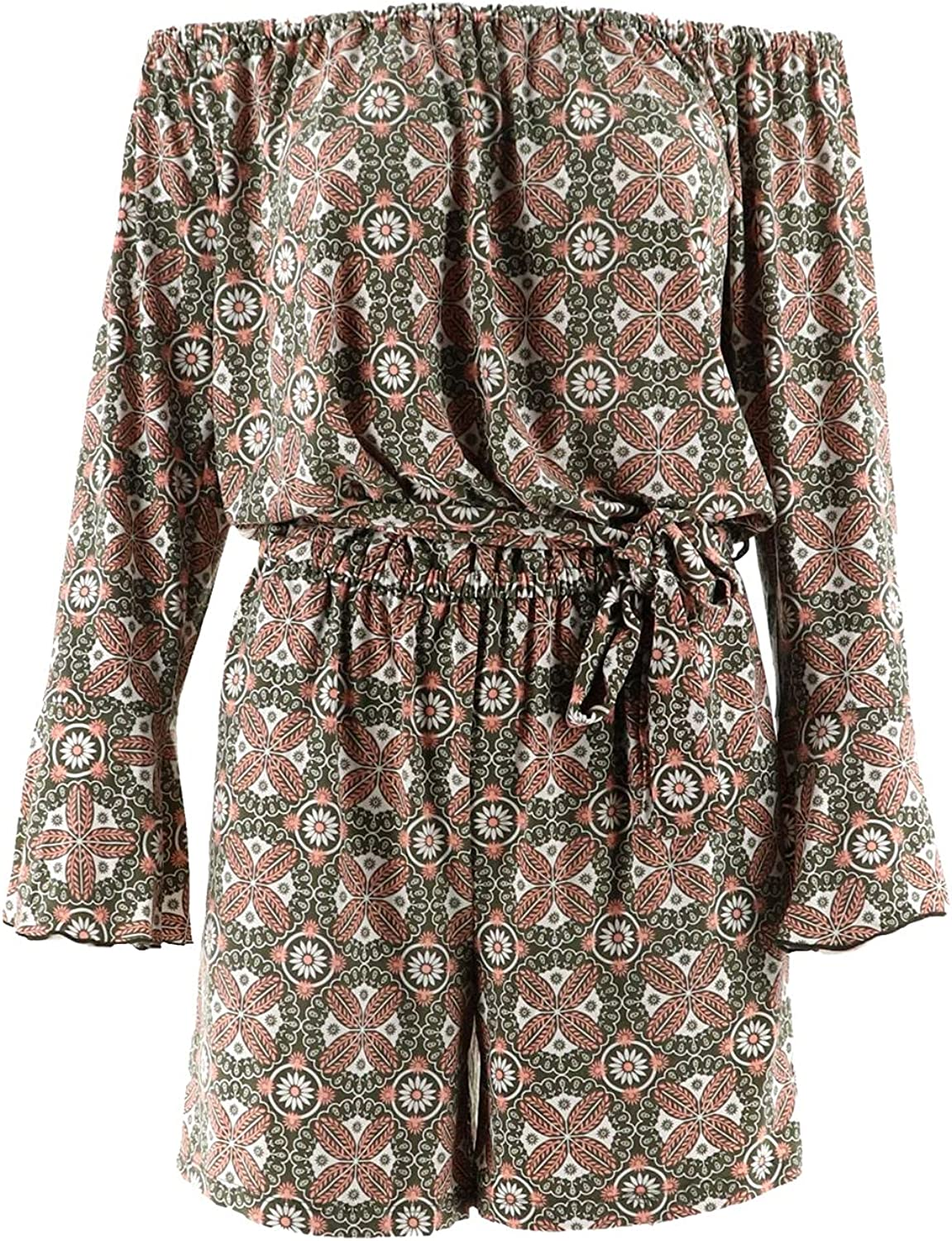 Du Jour Off The New life Shoulder Printed Olive Los Angeles Mall Tie A307043 Waist Romper