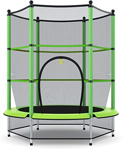 """discount Giantex high quality 55"""" popular Kids Trampoline, with Safety Enclosure Net & Spring Pad, Bulit-in Zipper Heavy Duty Steel Frame, Outdoor Indoor Mini Trampolines for Kids sale"""