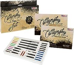 U.S. Art Supply 35 Piece Calligraphy Pen Writing Set - Interchangable Nibs, Paper Pad, Instructions