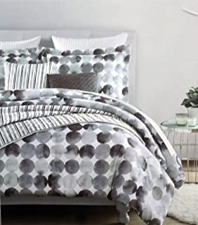 Duvet Cover Set Bedding 3 Piece Queen Size Modern Circles Pattern Shades of Gray on White