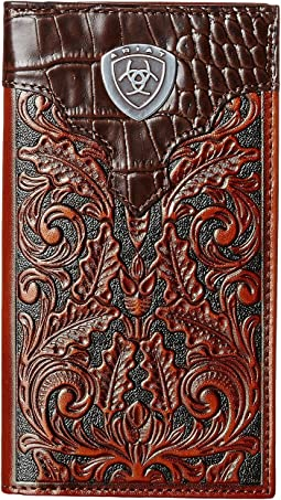 Tooled Rodeo Wallet with Gator Tab and Logo Concho