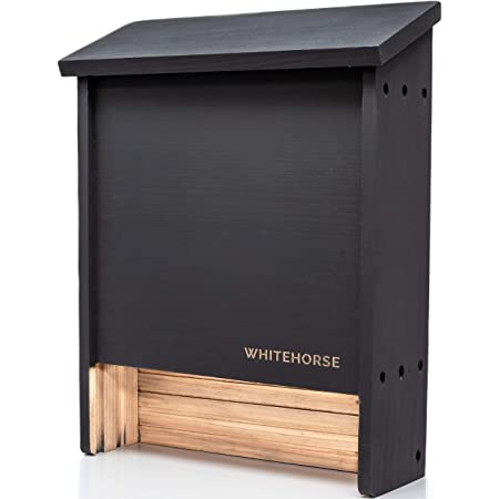 WHITEHORSE Premium Cedar Bat House - A 2-Chamber Bat Box That is Built to Last - Enjoy a Healthier Yard with Fewer Mosquitos While Supporting Bats (Black)