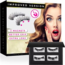 Magnetic Eyelashes - Reusable Magnetic False Lashes - Improved Version (Triple-Magnet, Extra-Long) - Natural Color