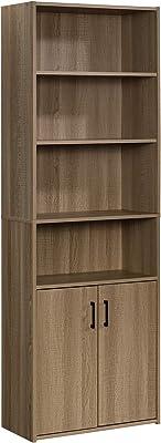 """Sauder Beginnings Bookcase with Doors, L: 24.65"""" x W: 11.65"""" x H: 71.14"""", Summer Oak"""