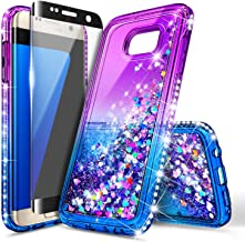 NageBee Galaxy S6 Edge Case with Screen Protector (Full Coverage 3D Curve) for Girls Women Kids, Glitter Liquid Floating Waterfall Cute Phone Case for Samsung Galaxy S6 Edge -Purple/Blue