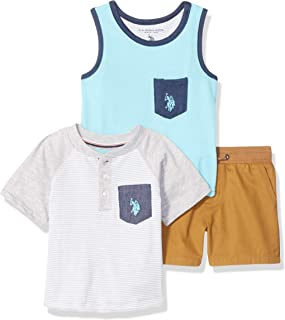 U.S. Polo Assn. Baby Boy's 3 Piece Henley T-Shirt, Tank Top, and Short Set Shorts