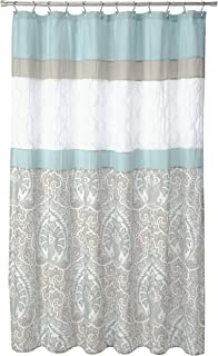 510 Design Shawnee Printed Embroidered Pieced Stripe Classic Damask Pattern Elegant Bathroom Shower Curtain With Liner, 72X72 Inches, Blue
