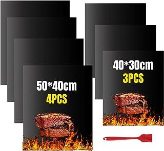 VLVEE Tapis de Cuisson Barbecue, Set de 7 Feuille (Contient 2 Tailles) de Tapis BBQ Barbecue Anti-AdhéRent RéUtilisable po...