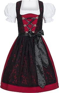Gaudi-Leathers Dirndl Set 3 TLG. Trachtenkleid Lilly rot mit Spitze in schwarz, Marke