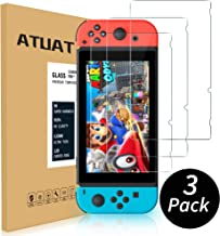 (3 Pack)Upgraded ATUAT Tempered Glass Screen Protector for Nintendo Switch,Anti-Scratch,99.9% HD Clarity,Ultra-Thin