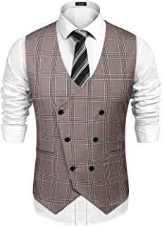 Coofandy Men's Waistcoat Casual Slim Fit Double Breasted Plaid Waistcoat Vest with Pocket for Wedding/Business/Party
