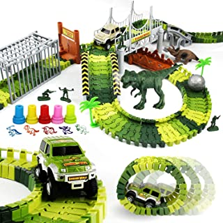 ROSYKIDZ Dinosaur Toys Building Tracks, [175 Pcs Toy Set] Slot Car Race Track Includes 2 Vehicle & 2 Dinosaurs & 10 Stamps for Kids 3 4 5 6 7 8 Years Old Boys Girls Gifts