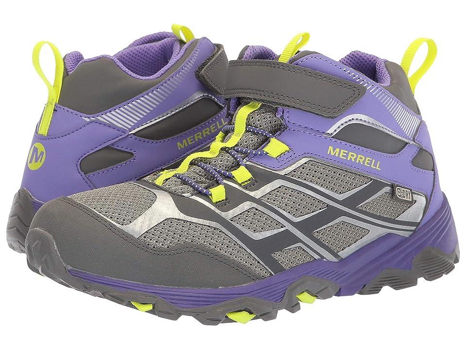 Merrell Kids Moab FST Mid A/C Waterproof (Big Kid) (Grey/Purple) Girls Shoes