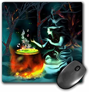 3Drose LLC 8 X 8 X 0.25 Inches Mouse Pad, Ghost Witch with Mysterious Glowing Eyes Cooks Up a Spooky Brew in the Dark Mist...