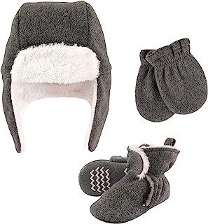 Hudson Baby Unisex czapka chwytakowa dla dzieci, zestaw rękawiczek i botków, wrzosowy węgiel drzewny, 6-12 miesięcy