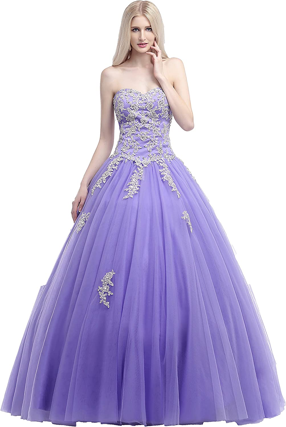 Anna's Bridal Women's Sweetheart Appliques Prom Dresses Ball Gown Quinceanera Dress