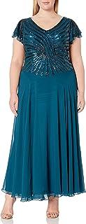 J Kara Women's Plus Size Pull on Long Dress with Beads